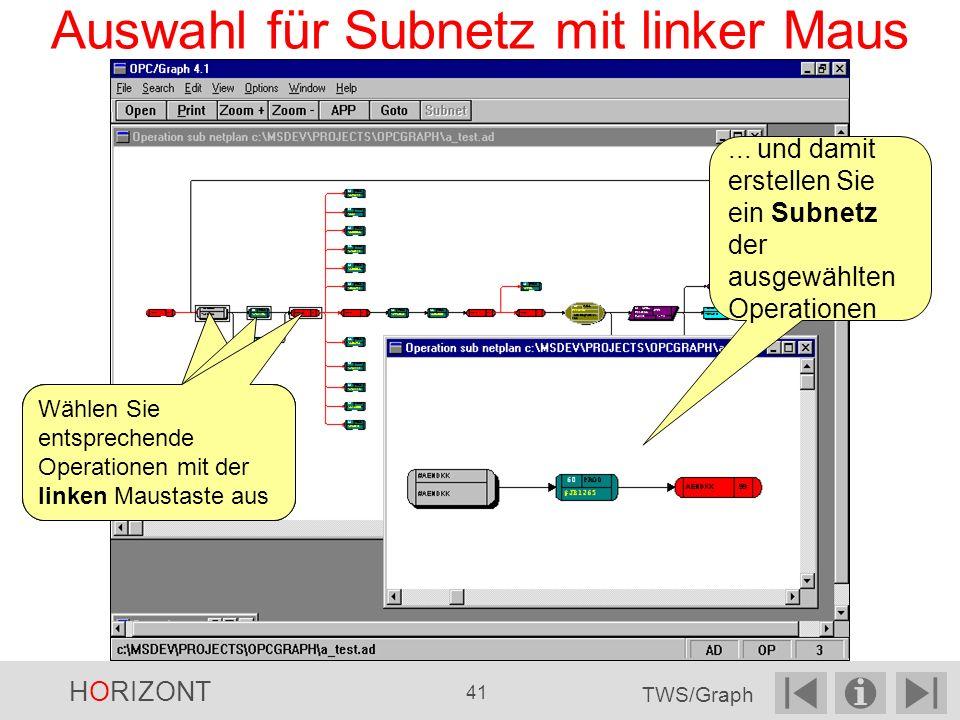 Auswahl für Subnetz mit linker Maus