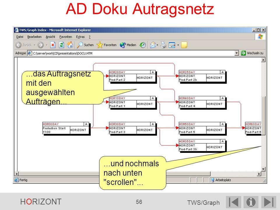 AD Doku Autragsnetz ...das Auftragsnetz mit den ausgewählten Aufträgen... ...und nochmals nach unten scrollen ...
