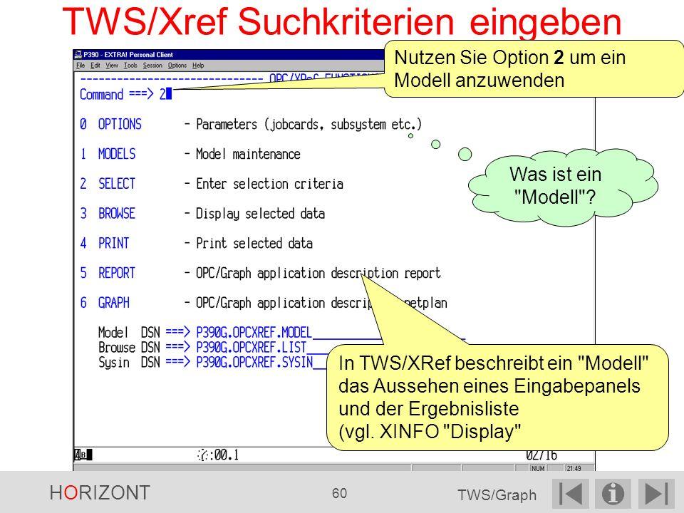 TWS/Xref Suchkriterien eingeben