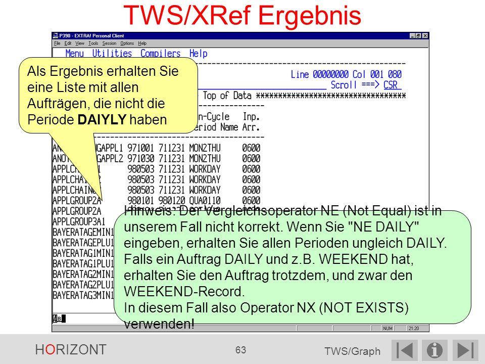 TWS/XRef Ergebnis Als Ergebnis erhalten Sie eine Liste mit allen Aufträgen, die nicht die Periode DAIYLY haben.