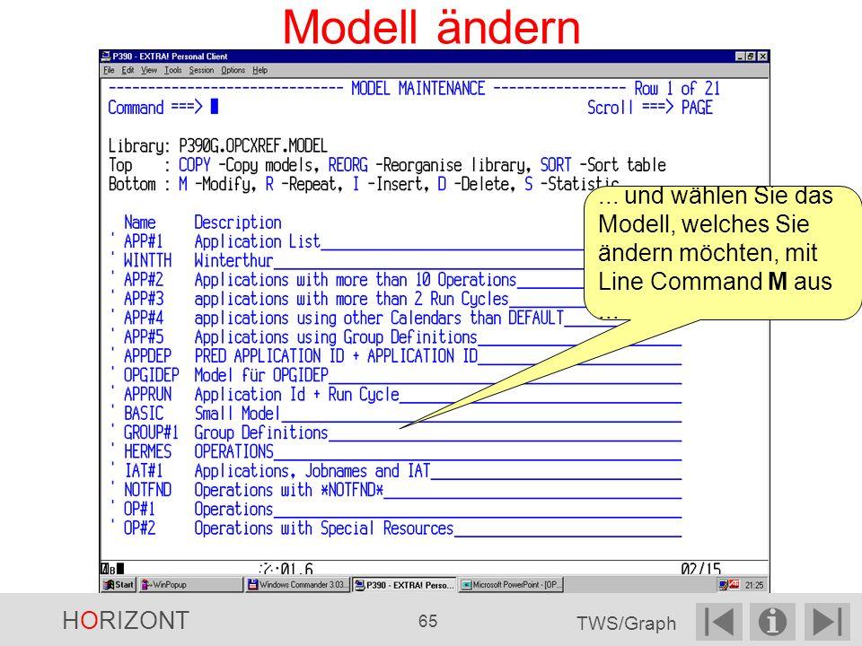 Modell ändern ... und wählen Sie das Modell, welches Sie ändern möchten, mit Line Command M aus ...