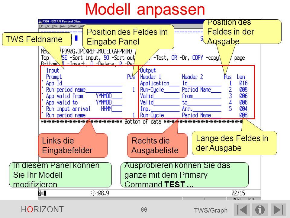 Modell anpassen Position des Feldes in der Ausgabe