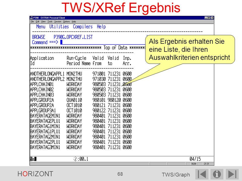 TWS/XRef Ergebnis Als Ergebnis erhalten Sie eine Liste, die Ihren Auswahlkriterien entspricht. HORIZONT.