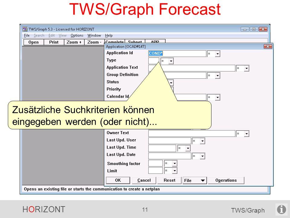 TWS/Graph Forecast Zusätzliche Suchkriterien können eingegeben werden (oder nicht)...