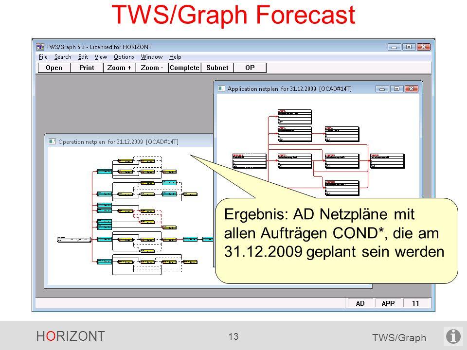 TWS/Graph Forecast Ergebnis: AD Netzpläne mit allen Aufträgen COND*, die am 31.12.2009 geplant sein werden.