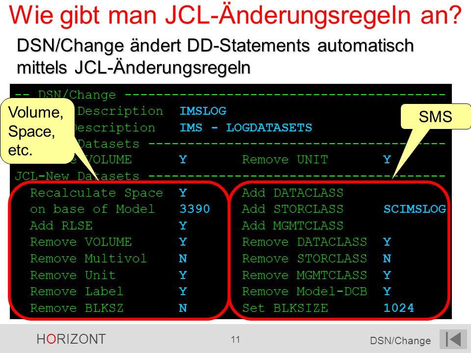 Wie gibt man JCL-Änderungsregeln an
