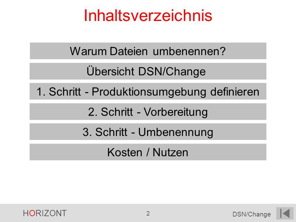 Inhaltsverzeichnis Warum Dateien umbenennen Übersicht DSN/Change