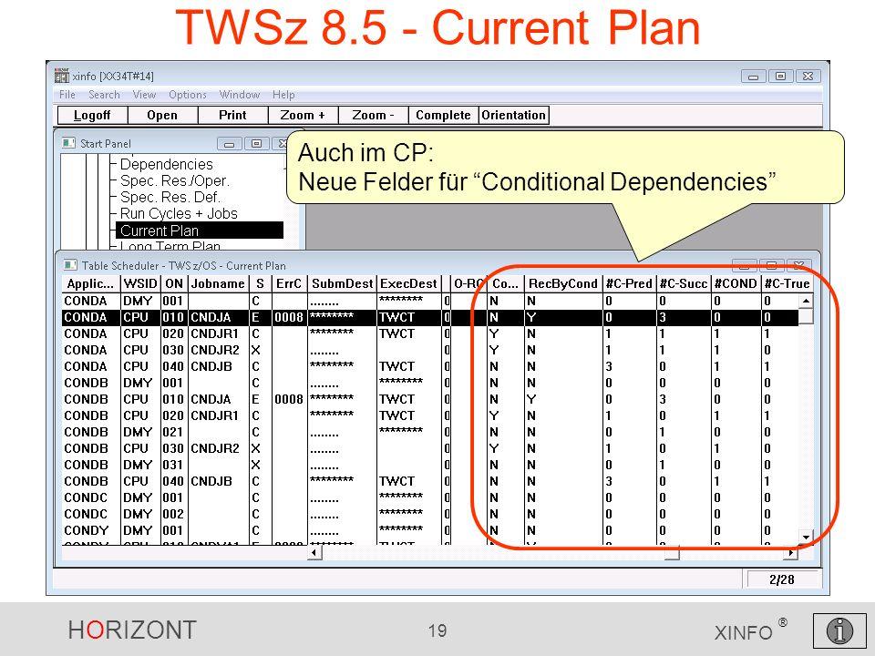 TWSz 8.5 - Current Plan Auch im CP: Neue Felder für Conditional Dependencies