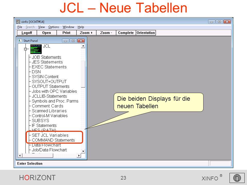JCL – Neue Tabellen Die beiden Displays für die neuen Tabellen