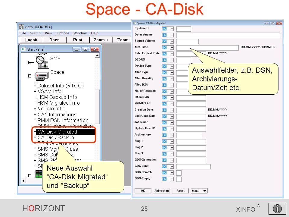 Space - CA-Disk Auswahlfelder, z.B. DSN, Archivierungs-Datum/Zeit etc.