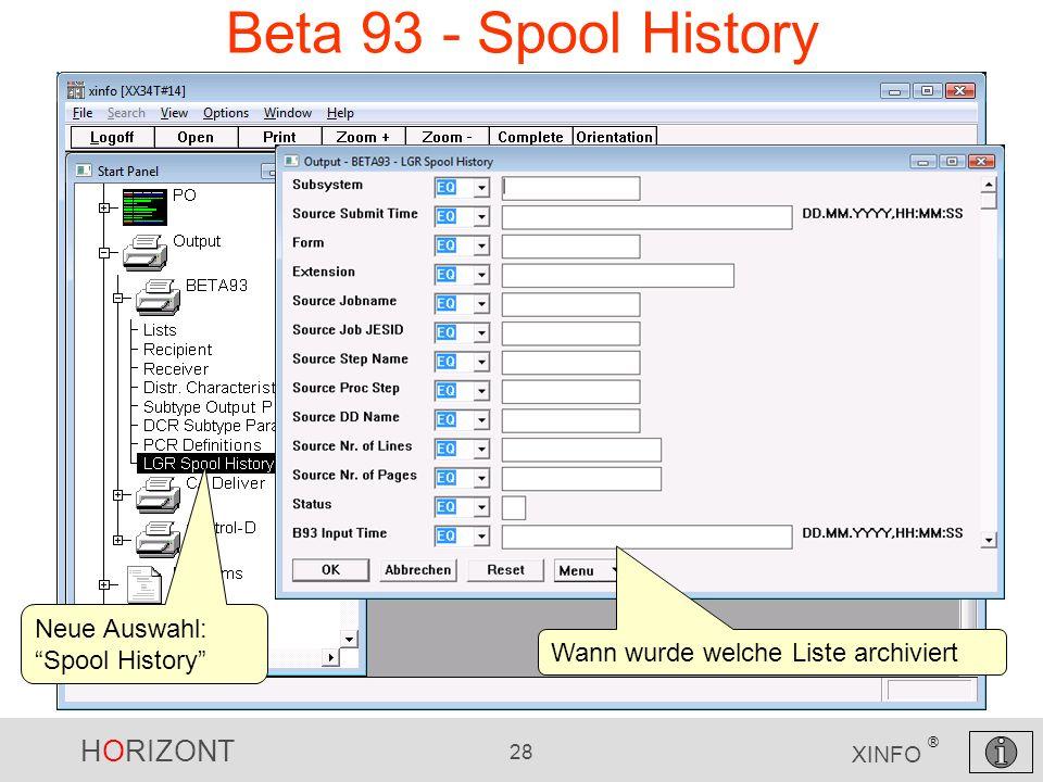 Beta 93 - Spool History Neue Auswahl: Spool History