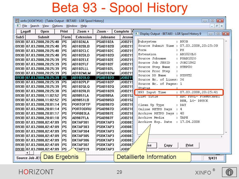 Beta 93 - Spool History Das Ergebnis Detaillierte Information