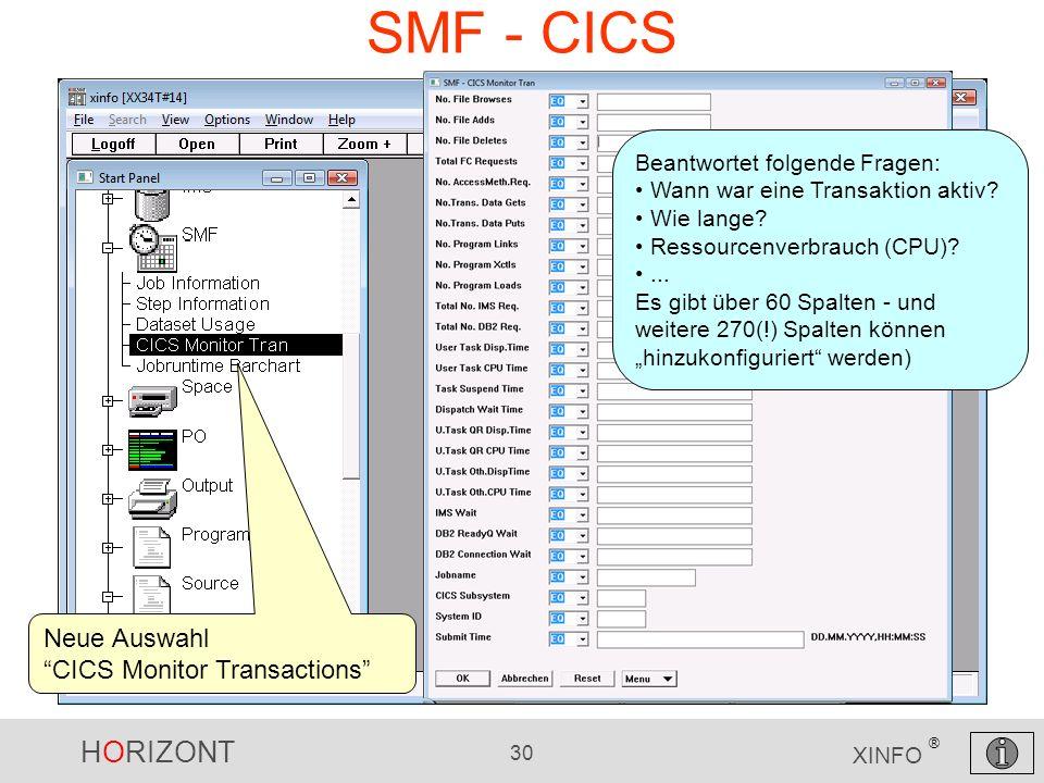 SMF - CICS Neue Auswahl CICS Monitor Transactions