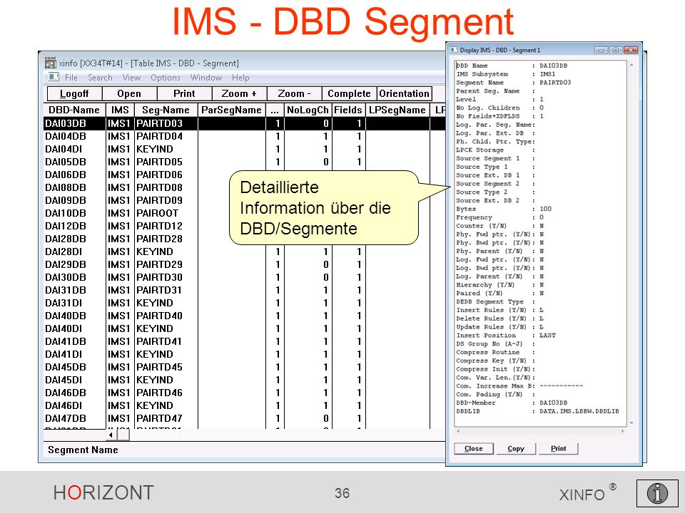 IMS - DBD Segment Detaillierte Information über die DBD/Segmente