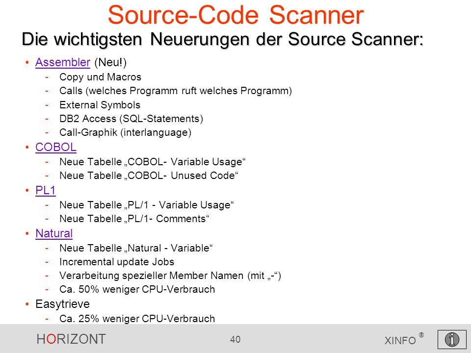 Source-Code Scanner Die wichtigsten Neuerungen der Source Scanner: