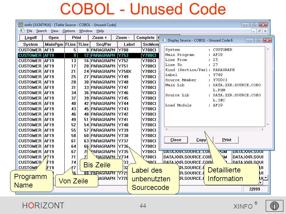 COBOL - Unused Code Bis Zeile Label des unbenutzten Sourcecode