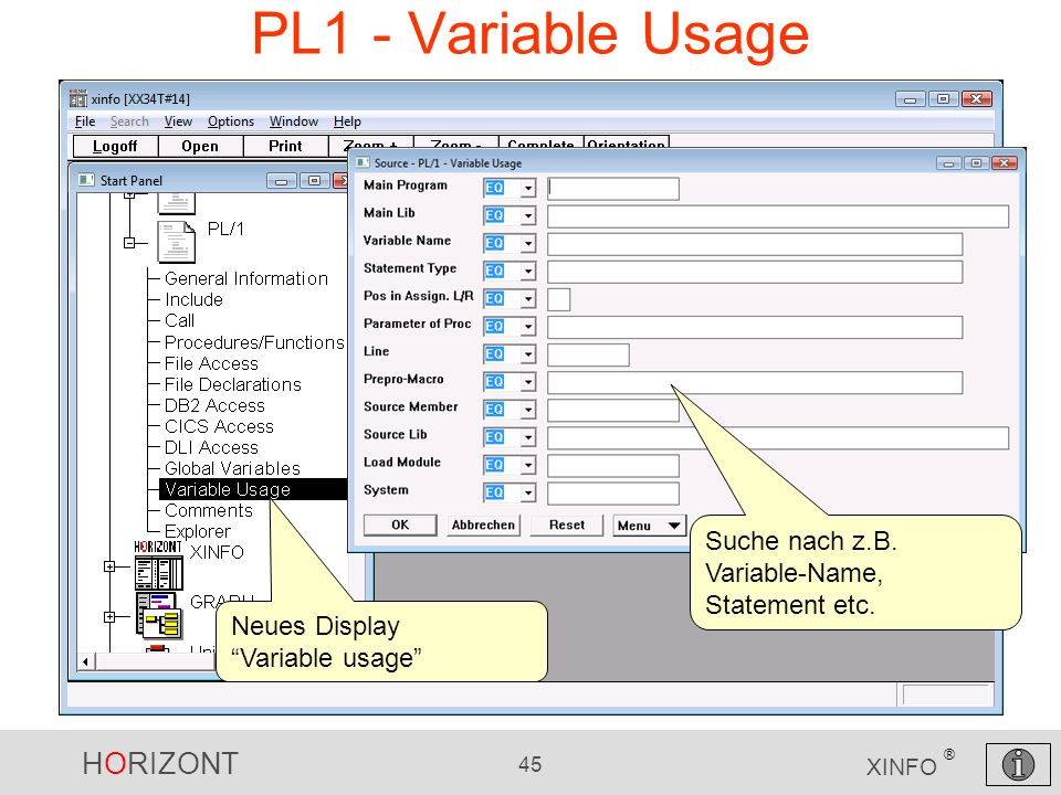 PL1 - Variable Usage Suche nach z.B. Variable-Name, Statement etc.