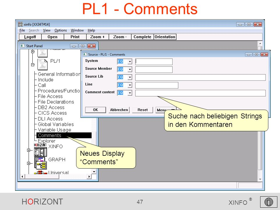 PL1 - Comments Suche nach beliebigen Strings in den Kommentaren