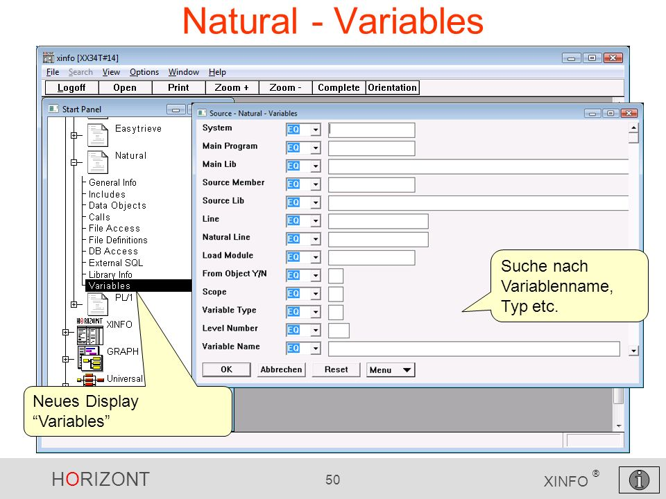 Natural - Variables Suche nach Variablenname, Typ etc.