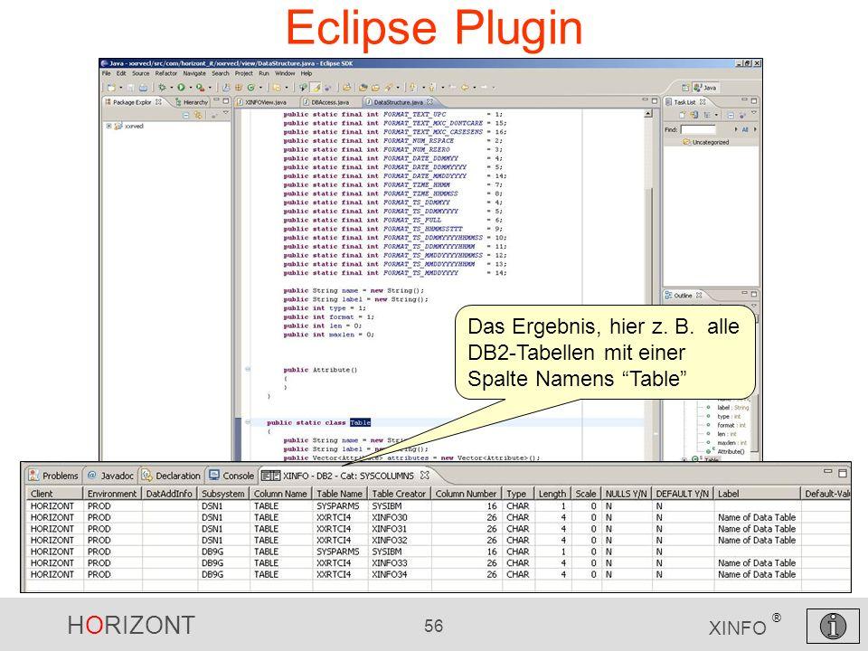 Eclipse Plugin Das Ergebnis, hier z. B. alle DB2-Tabellen mit einer Spalte Namens Table