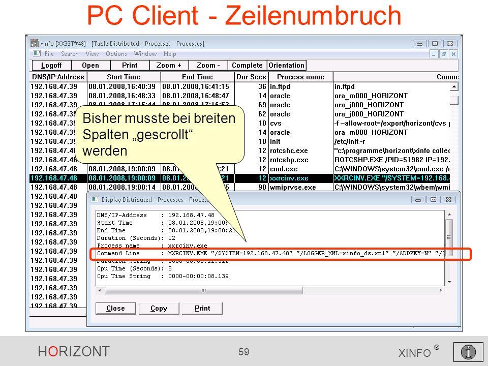 PC Client - Zeilenumbruch