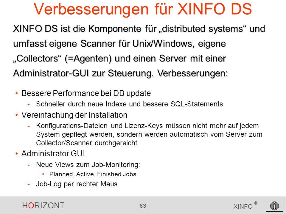 Verbesserungen für XINFO DS