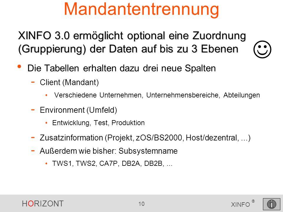 Mandantentrennung XINFO 3.0 ermöglicht optional eine Zuordnung (Gruppierung) der Daten auf bis zu 3 Ebenen.