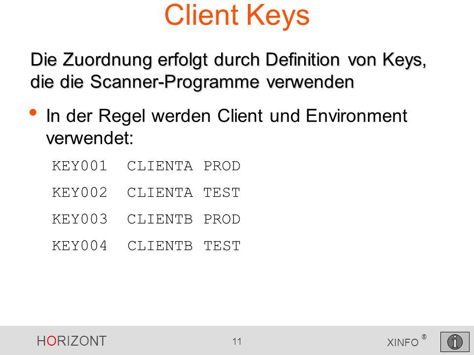 Client Keys Die Zuordnung erfolgt durch Definition von Keys, die die Scanner-Programme verwenden.