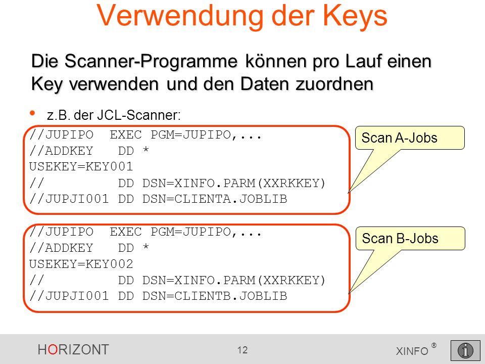 Verwendung der Keys Die Scanner-Programme können pro Lauf einen Key verwenden und den Daten zuordnen.