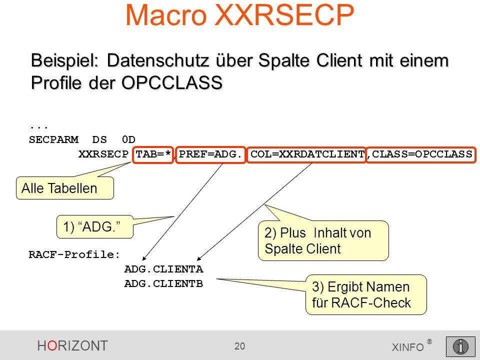 Macro XXRSECP Beispiel: Datenschutz über Spalte Client mit einem Profile der OPCCLASS. ... SECPARM DS 0D.