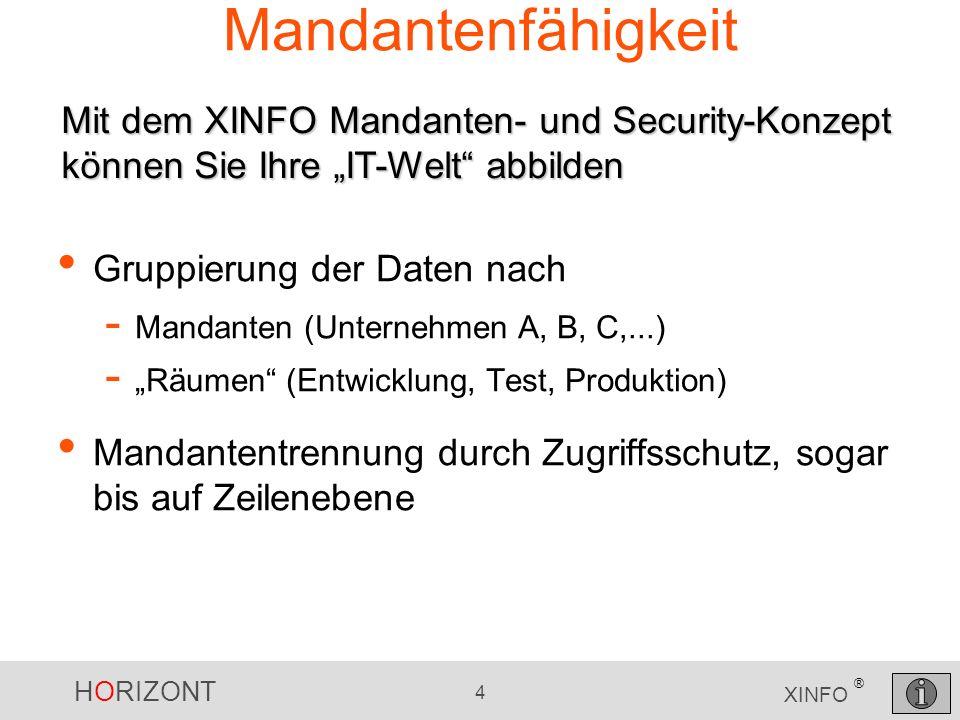 """Mandantenfähigkeit Mit dem XINFO Mandanten- und Security-Konzept können Sie Ihre """"IT-Welt abbilden."""