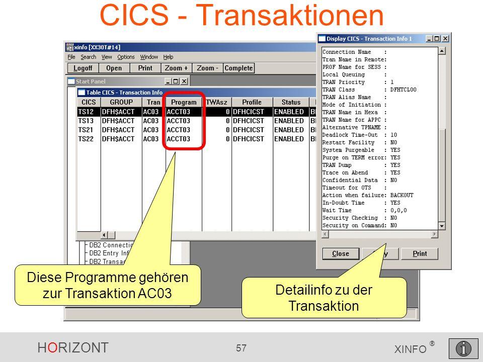 CICS - Transaktionen Diese Programme gehören zur Transaktion AC03
