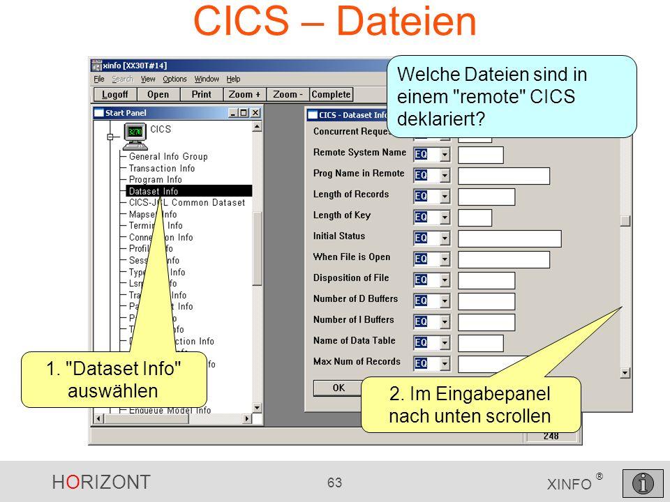 CICS – Dateien Welche Dateien sind in einem remote CICS deklariert