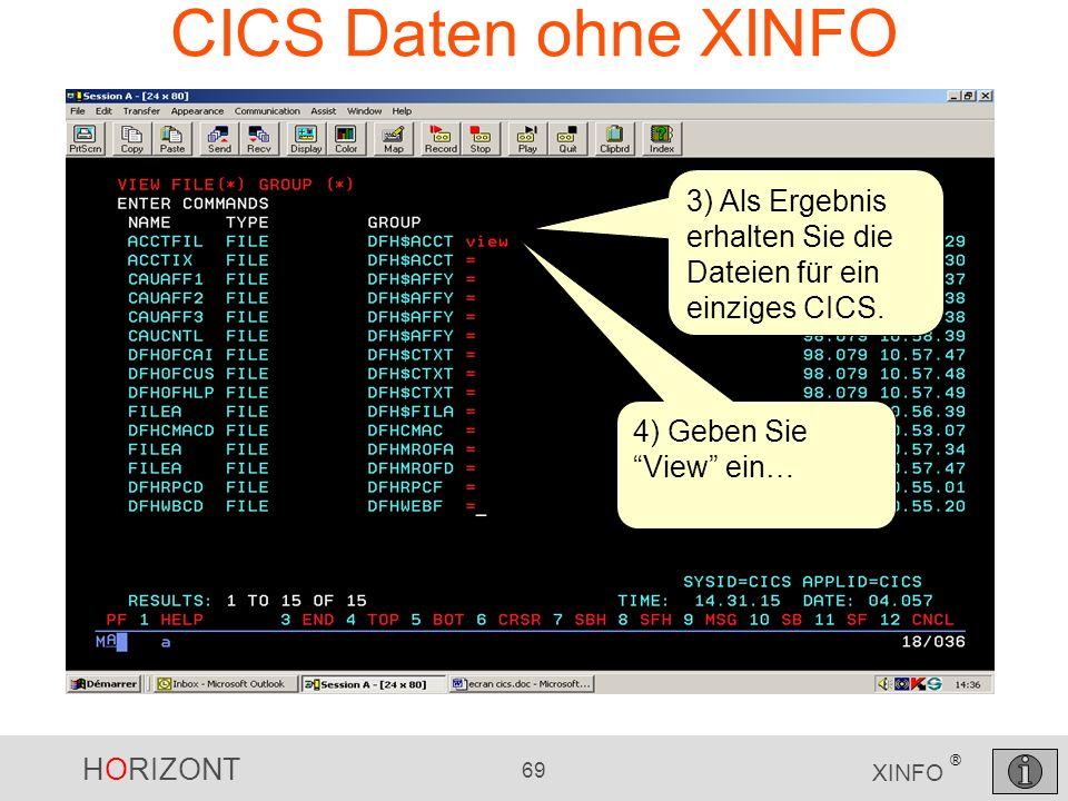 CICS Daten ohne XINFO3) Als Ergebnis erhalten Sie die Dateien für ein einziges CICS.