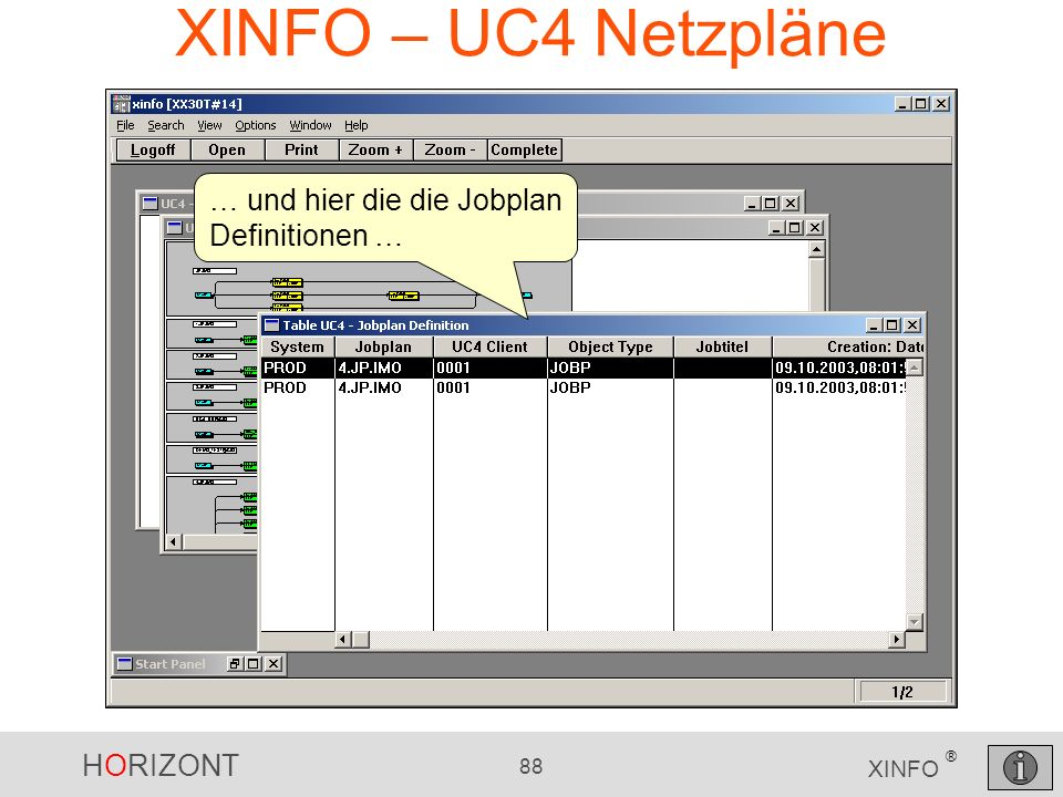 XINFO – UC4 Netzpläne … und hier die die Jobplan Definitionen …