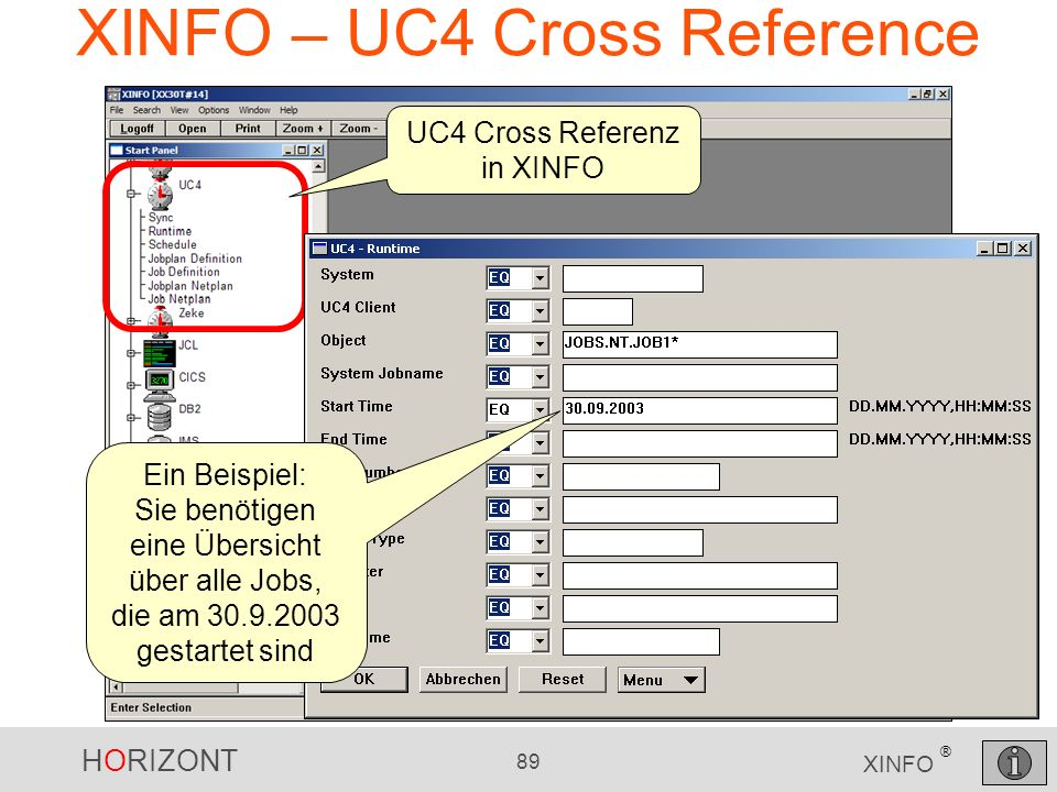 XINFO – UC4 Cross Reference