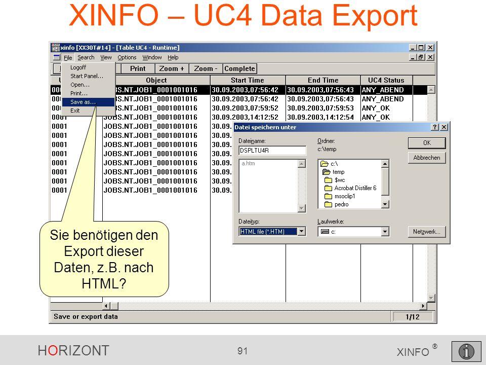 Sie benötigen den Export dieser Daten, z.B. nach HTML