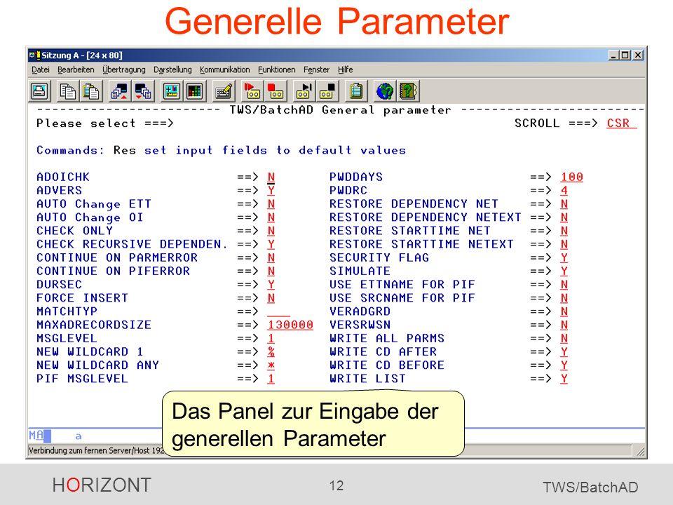 Generelle Parameter Das Panel zur Eingabe der generellen Parameter