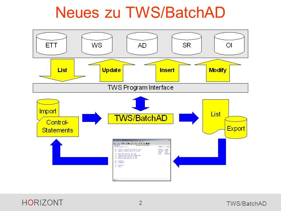 Neues zu TWS/BatchAD