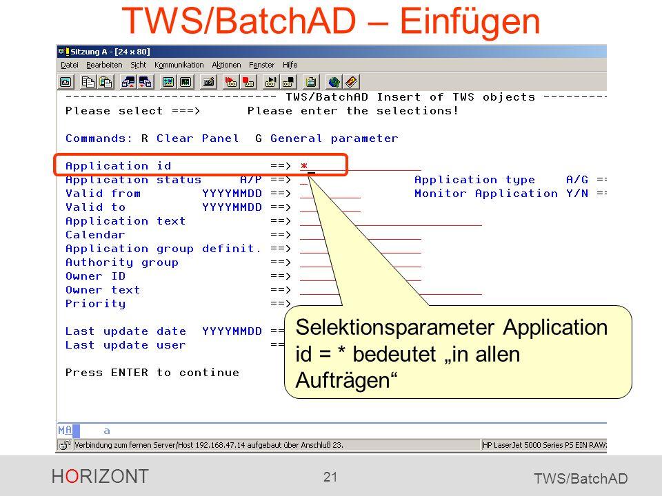 TWS/BatchAD – Einfügen