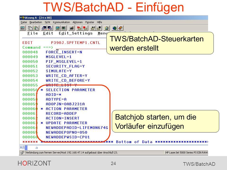 TWS/BatchAD - Einfügen