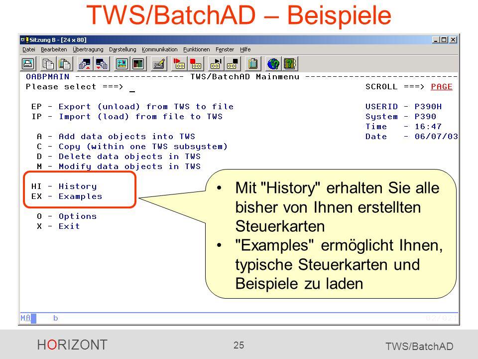 TWS/BatchAD – Beispiele