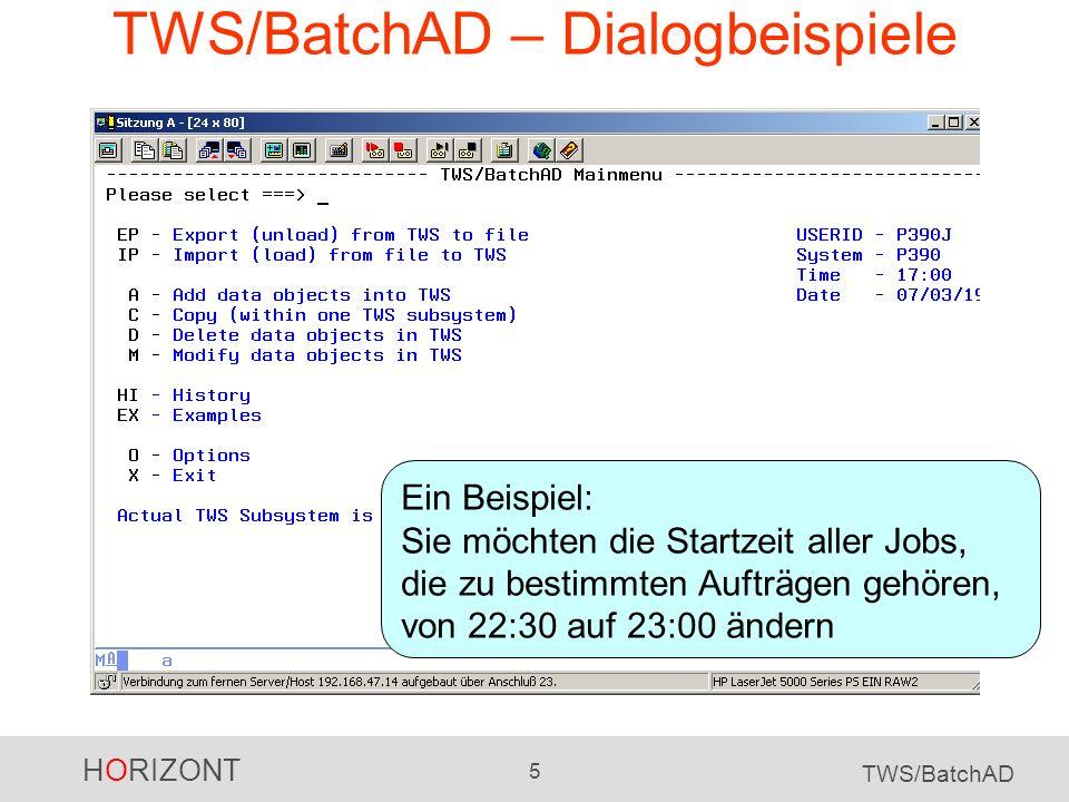 TWS/BatchAD – Dialogbeispiele