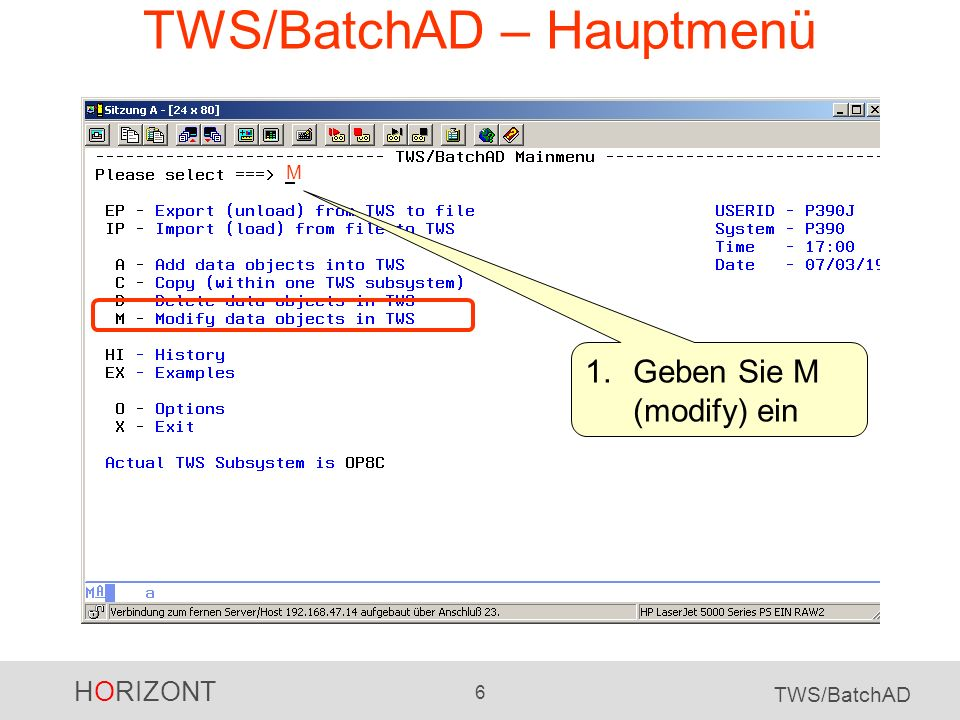 TWS/BatchAD – Hauptmenü