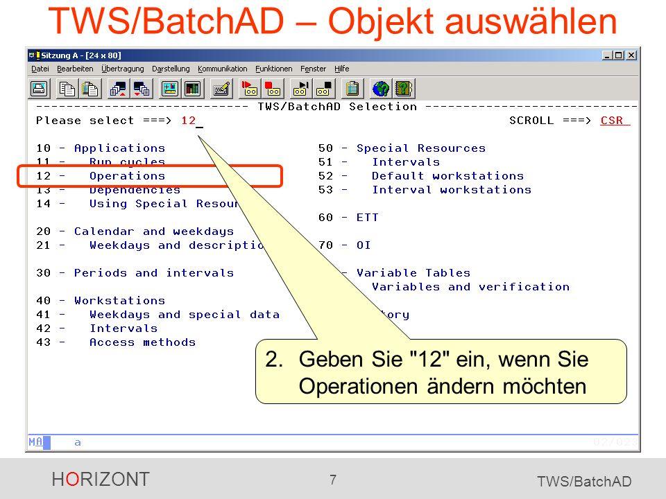 TWS/BatchAD – Objekt auswählen