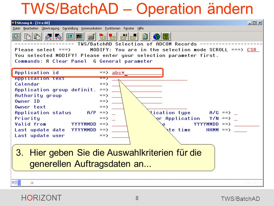 TWS/BatchAD – Operation ändern