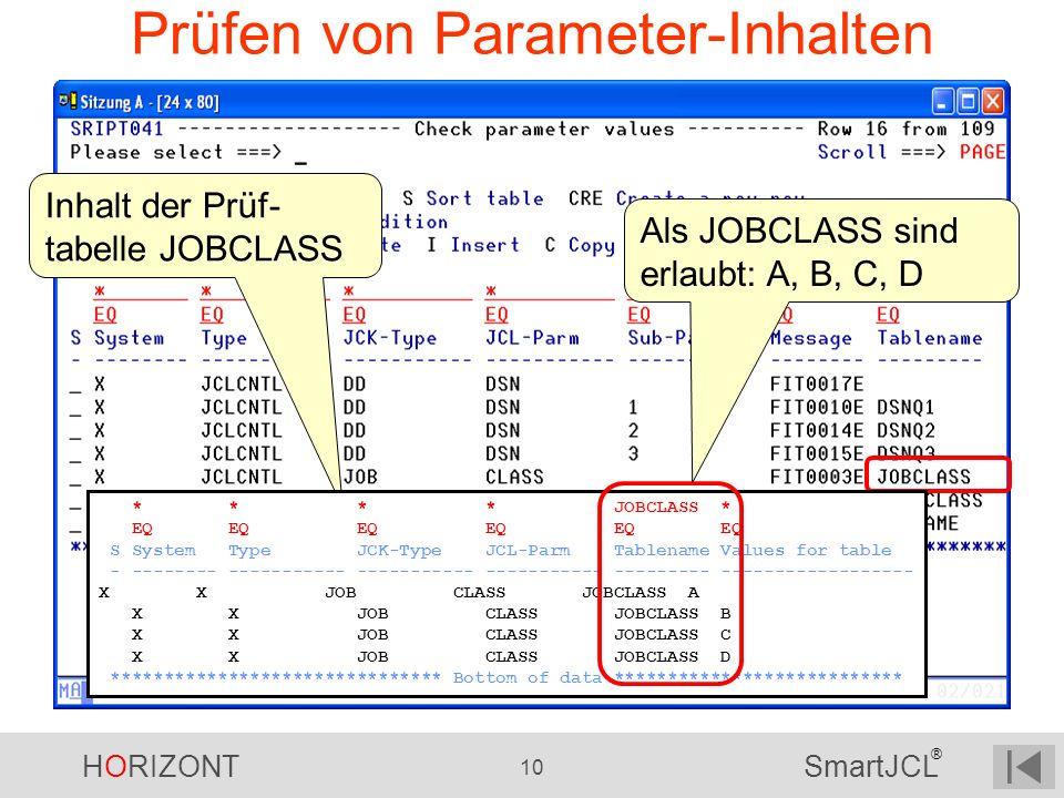 Prüfen von Parameter-Inhalten