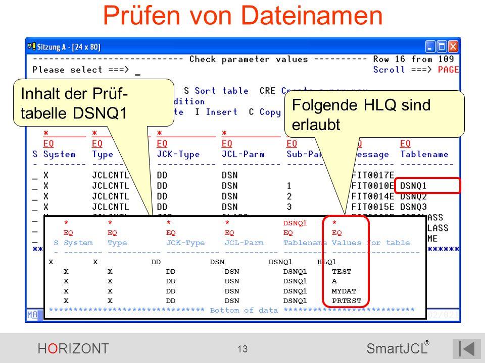 Prüfen von Dateinamen Inhalt der Prüf- tabelle DSNQ1