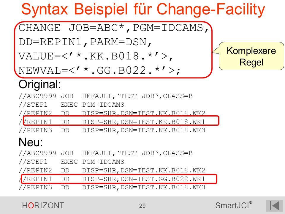 Syntax Beispiel für Change-Facility