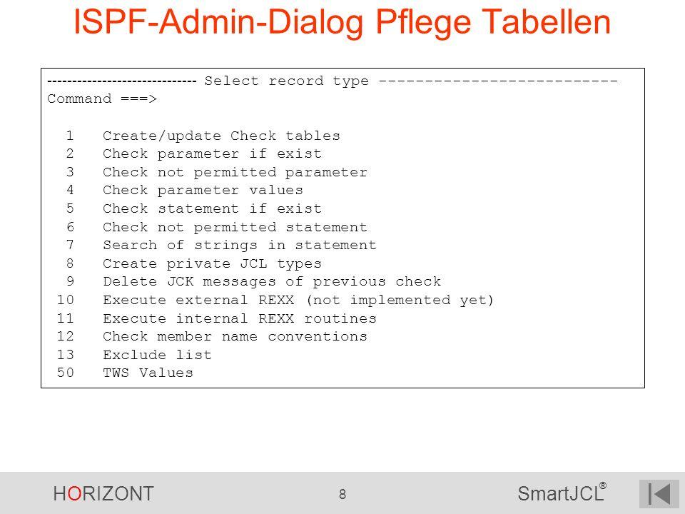 ISPF-Admin-Dialog Pflege Tabellen